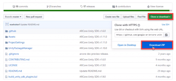 Github page with Unity ARCore files being downloaded
