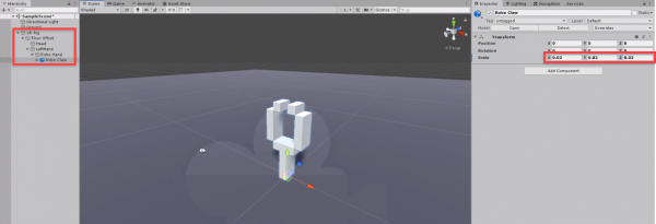 Robo Claw added to Unity scene for VR