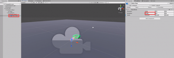 Unity VR robo claw rotated