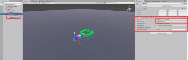 Unity VR robo claw with Tracked Pose Driver linked to Left Controller