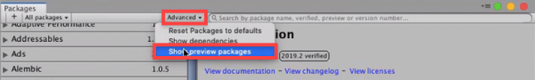 Unity Packaged with show preview packages selected