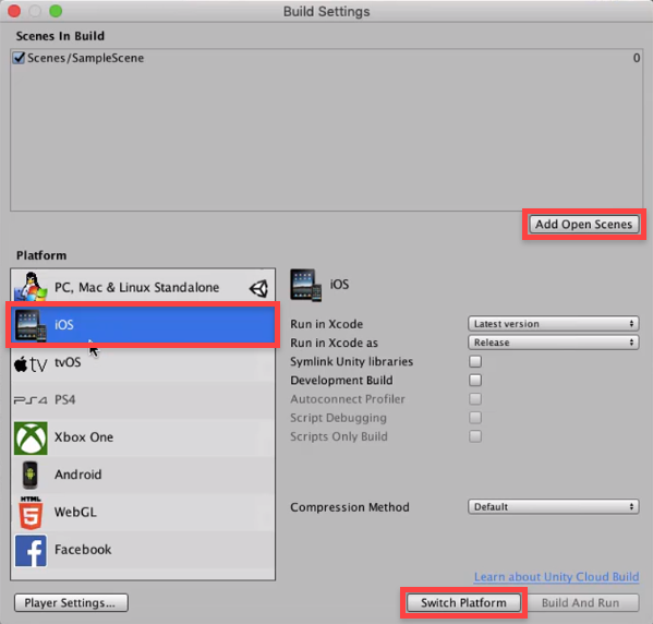Unity Build Setting with iOS being switched to for platformed