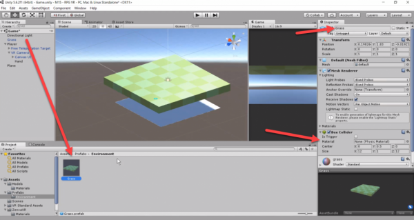 Grass model with Box Collider added in Unity inspector