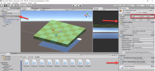 Unity transform component for grass model
