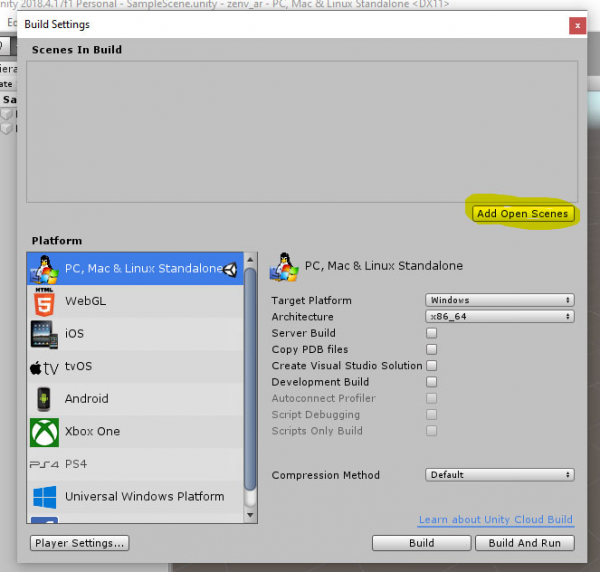 Unity Build Settings window for EasyAR project