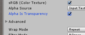 Unity Alpha is Transparency option checked