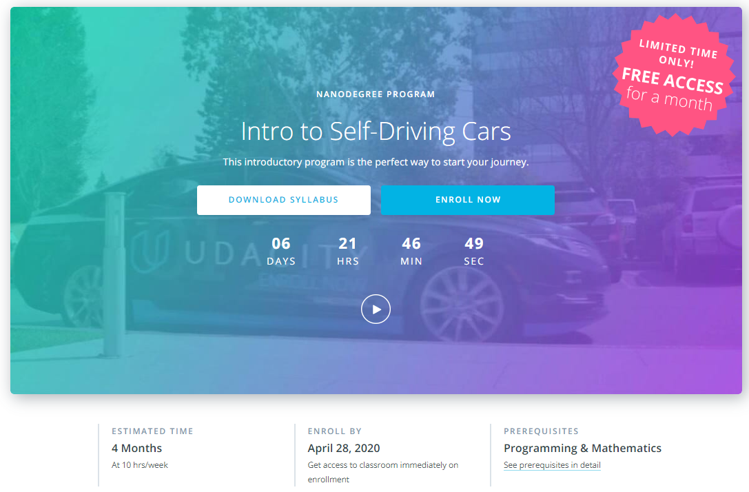 Udacity program for self driving cars