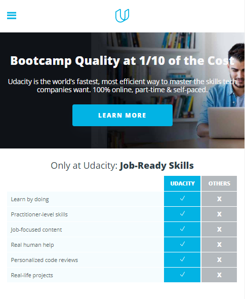 Udacity website at mobile size