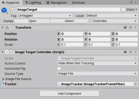 ImageTarget component with Image info added in Inspector