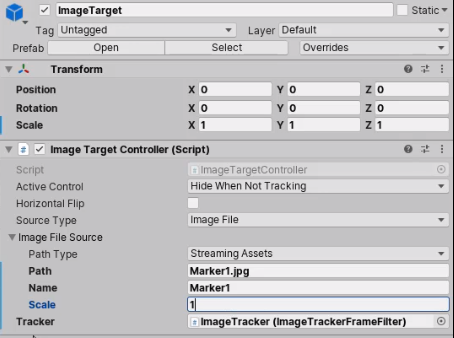ImageTarget component in Inspector with Marker name